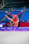 Mailat Denisa during the qualification of hoop at World Cup Pesaro 2018. Denisa is an individual rhythmic gymnast from Romania born in Bucharest in 2002.