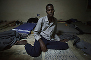 Abdennour Jamal, 19, from Somalia, in the Misurata detention center for migrants. <br />