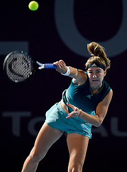 DOHA, Feb. 13, 2019  Karolina Muchova of the Czech Republic serves during the women's singles first round match against Samantha Stosur of Australia at the 2019 WTA Qatar Open in Doha, Qatar, on Feb. 12, 2019. Karolina Muchova won 2-0. (Credit Image: © Yangyuanyong/Xinhua via ZUMA Wire)