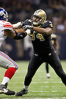 28 November 2011: Defensive end (94) Cameron Jordan of the New Orleans Saints in game action against the New York Giants during the first half of the Saints 49-24 victory over the Giants at the Mercedes-Benz Superdome in New Orleans, LA.