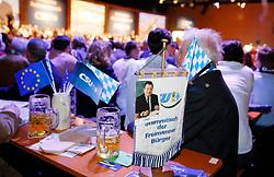 06.03.2019, Dreiländerhalle, Passau, GER, Politischer Aschermittwoch der CSU, im Bild Stammtisch mit Franz-Josef Strauss Fahne Strauß // during the Political Ash Wednesday of the CSU Party at the Dreiländerhalle in Passau, Germany on 2019/03/06. EXPA Pictures © 2019, PhotoCredit: EXPA/ SM<br /> <br /> *****ATTENTION - OUT of GER*****