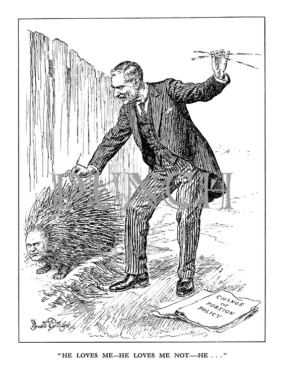 """He Loves Me - He Loves Me Not - He..."" (British Prime Minister Neville Chamberlain plucking spikes from the Italian porcupine Benito Mussolini in a 'Change of Foreign Policy')"