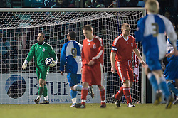 BRISTOL, ENGLAND - Thursday, January 15, 2009: Liverpool's goalkeeper Dean Bouzanis looks dejected after conceding a second equaliser against Bristol Rovers during the FA Youth Cup match at the Memorial Stadium. (Mandatory credit: David Rawcliffe/Propaganda)