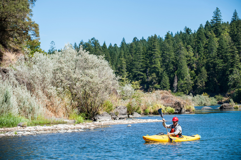 Jeff Moag paddling the Rogue River, Oregon.