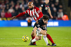 David McGoldrick of Sheffield United takes on Daniel James of Manchester United - Mandatory by-line: Robbie Stephenson/JMP - 24/11/2019 - FOOTBALL - Bramall Lane - Sheffield, England - Sheffield United v Manchester United - Premier League