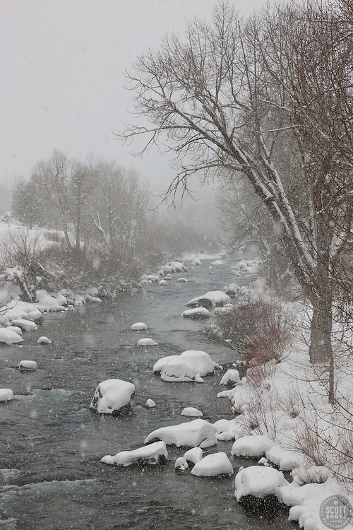 """Snowy Truckee River 2"" - Photograph of a snowy Truckee River shot while it was snowing in Downtown Truckee, California."
