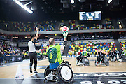 UNITED KINGDOM, London: 2015 World Wheelchair Rugby Challenge. Caption: South Africa's Koos Jacobs throws the ball back into play after conceding a try against New Zealand. Rick Findler / Story Picture Agency