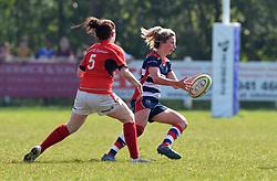 Elinor Snowsill of Bristol Ladies off loads the ball - Mandatory by-line: Paul Knight/JMP - 09/04/2017 - RUGBY - Cleve RFC - Bristol, England - Bristol Ladies v Saracens Women - RFU Women's Premiership Play-off Semi-Final