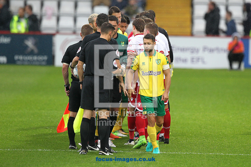 The players shake hands before the Pre-season Friendly match at the Lamex Stadium, Stevenage<br /> Picture by Paul Chesterton/Focus Images Ltd +44 7904 640267<br /> 11/07/2017