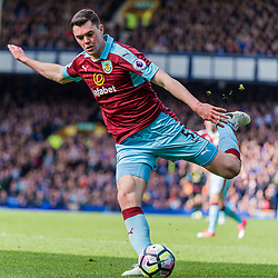 Burnley defender Michael Keane (5) on the ball in the Premier League match between Everton and Burnley<br /> (c) John Baguley | SportPix.org.uk
