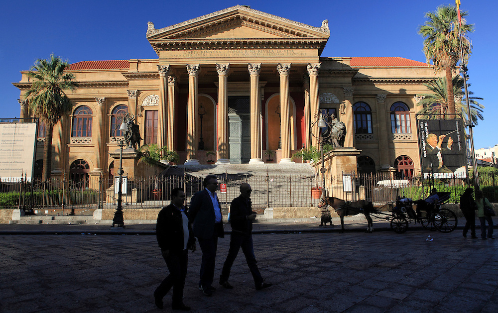 Sicily, Italy. Teatro Massimo  is an opera house,  the biggest in Italy and one of the largest of Europe  renowned for its perfect acoustics. It is also the place where the final scenes of the film Godfather Part III were filmed.
