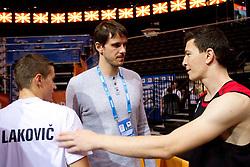 Jaka Lakovic of Slovenia, Bostjan Nachbar and Vlado Ilievski of Macedonia  after the practice session of Slovenian national basketball team at FIBA Europe Eurobasket Lithuania 2011, on September 13, 2011, in Kauno Arena,  Kaunas, Lithuania.  (Photo by Vid Ponikvar / Sportida)