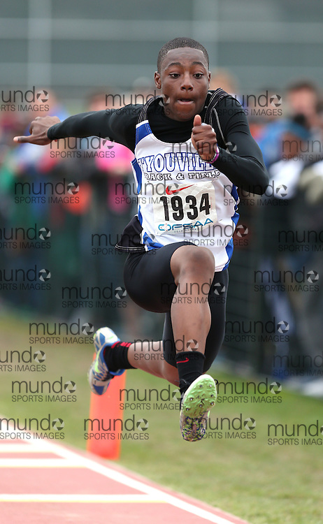 Emmanuel Nketiah of St Marguerite d'Youville -Bram competes in the junior boys triple jump at the 2013 OFSAA Track and Field Championship in Oshawa Ontario, Thursday,  June 6, 2013.<br /> Mundo Sport Images / Sean Burges