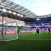Sean Johnson, Chicago Fire goalkeeper, punches the ball clear during the New York Red Bulls V Chicago Fire Major League Soccer regular season match at Red Bull Arena, Harrison. New Jersey. USA. 6th October 2012. Photo Tim Clayton