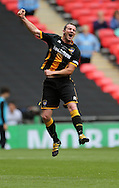 Steven Anderson of Morpeth Town AFC celebrates the full time whistle during the FA Vase Final at Wembley Stadium, London<br /> Picture by Simon Moore/Focus Images Ltd 07807 671782<br /> 22/05/2016
