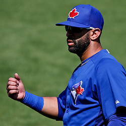 Feb 28, 2013; Tampa, FL, USA; Toronto Blue Jays right fielder Jose Bautista (19) in the field during the top of the second inning of a spring training game against the New York Yankees at George Steinbrenner Field. Mandatory Credit: Derick E. Hingle-USA TODAY Sports