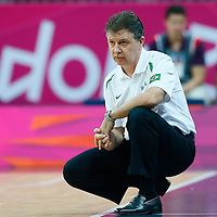 06 August 2012: Brazil head coach Magnano Ruben is seen during 88-82 Team Brazil victory over Team Spain, during the men's basketball preliminary, at the Basketball Arena, in London, Great Britain.