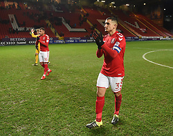 Charlton Athletic's Ahmed Kashi applauds the fans at full time