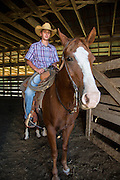 Brady McDonald on horse, Tigger at Warren Ranch at Katy Prairie Conservancy; Katy; Texas