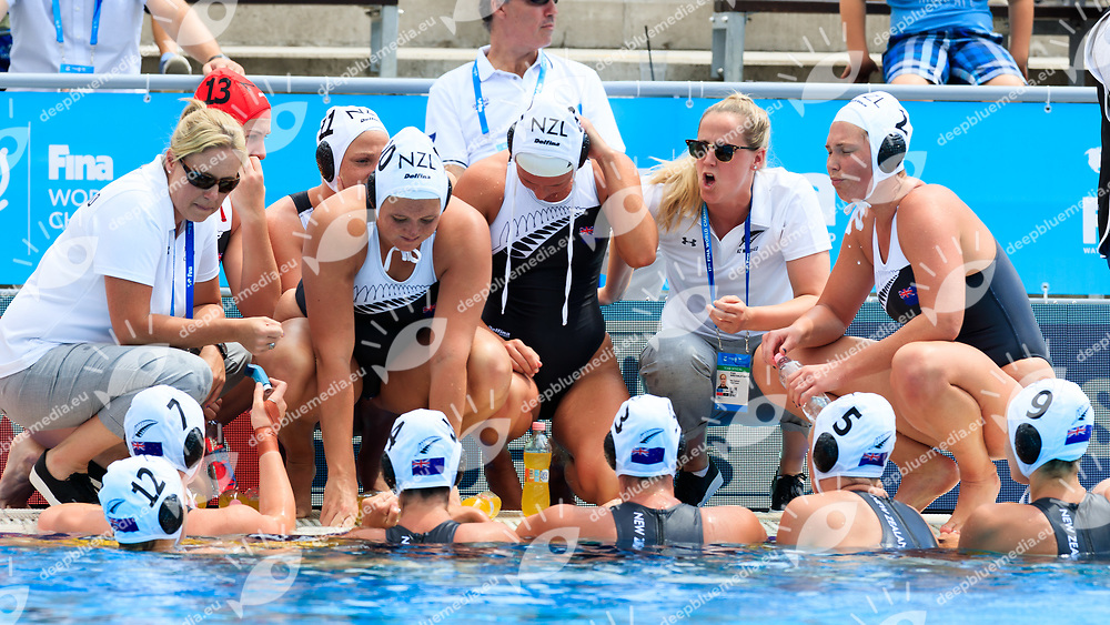 Team New Zealand<br /> New Zealand (White cap) vs Spain (Blue Cap) Water Polo - Preliminary round<br /> Day 03 16/07/2017 <br /> XVII FINA World Championships Aquatics<br /> Alfred Hajos Complex Margaret Island  <br /> Budapest Hungary July 15th - 30th 2017 <br /> Photo @Marcelterbals/Deepbluemedia/Insidefoto Photo @Marcelterbals/Deepbluemedia/Insidefoto