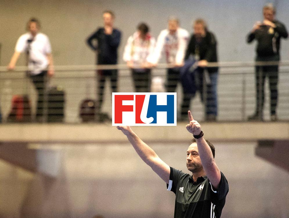 BERLIN - Indoor Hockey World Cup<br /> Austria - Belgium<br /> foto: Lee Barron<br /> WORLDSPORTPICS COPYRIGHT FRANK UIJLENBROEK