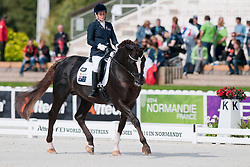 Joann Formosa riding Worldwide PB in the Grade 1b Para-Dressage at the 2014 World Equestrian Games, Caen, Normandy, France.