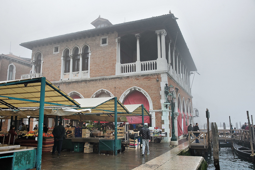 "VENICE, ITALY - FEBRUARY 08: A general view of Rialto Fish Market on a foggy morning on February 8, 2011 in Venice, Italy. The Rialto Fish Market recently associated with the actor Johnny Depp because it appears in some scenes of the movie ""The Tourist"" risks closure if plans to move the fish wholesale market from Venice to Fusina go ahead."