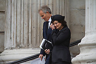 Former British Prime Minister Tony Blair and his wife Cherie departing St. Paul's following the funeral service for Margaret Thatcher. The funeral of Baroness Thatcher of Kesteven took place at St. Paul's Cathedral in central London following a procession though the city with full military honours. Margaret Thatcher was Britain's first woman Prime Minister, from her election in 1979 until she resigned in 1990, she died on April 9, 2013.