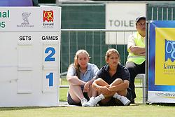LIVERPOOL, ENGLAND - THURSDAY, JUNE 9th, 2005: Ball girls man the scoreboard during the Liverbird Developments Liverpool International Tennis Tournament in Calderstones Park. (Pic by Dave Rawcliffe/Propaganda)