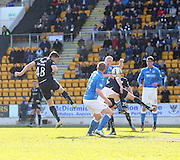 Dundee's Stephen McGinn heads for goal - St Johnstone v Dundee, SPFL Premiership at McDiarmid Park<br /> <br />  - &copy; David Young - www.davidyoungphoto.co.uk - email: davidyoungphoto@gmail.com
