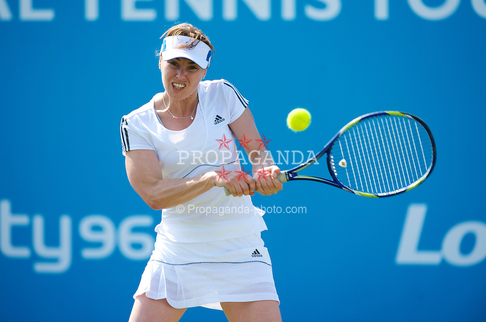 LIVERPOOL, ENGLAND - Thursday, June 17, 2010: Martina Hingis (SUI) during the Ladies' Singles match on day two of the Liverpool International Tennis Tournament at Calderstones Park. (Pic by David Rawcliffe/Propaganda)