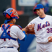 NEW YORK, NEW YORK - MAY 04:  Catcher Rene Rivera #44, (left), of the New York Mets congratulates pitcher Steven Matz #32 as he is pulled from the game after conceding only two hits during the Atlanta Braves Vs New York Mets MLB regular season game at Citi Field on May 04, 2016 in New York City. (Photo by Tim Clayton/Corbis via Getty Images)