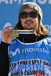 19.03.2017, Ski Stadium, Sierra Nevada, ESP, FIS Freestyle Ski and Snowboard WM, Sierra Nevada 2017, Slope Style Ski, im Bild Mcrae Williams (USA) celebrates after winning the gold medal following the Men's Slope Style Ski Final // Mcrae Williams (USA) celebrates after winning the gold medal following the Men's Slope Style Ski Final of the FIS Freestyle Ski & Snowboard World Championships 2017 at the Ski Stadium in Sierra Nevada, Spain on 2017/03/19. EXPA Pictures © 2017, PhotoCredit: EXPA/ Focus Images/ Kristian Kane<br /> <br /> *****ATTENTION - for AUT, GER, FRA, ITA, SUI, POL, CRO, SLO only*****