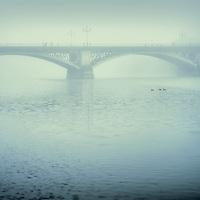 Triana bridge on a misty day, Seville, Spain.