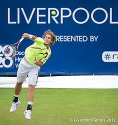 LIVERPOOL, ENGLAND - Saturday, June 23, 2012: Lukas Lacko (SVK) during the Men's Final on day three of the Medicash Liverpool International Tennis Tournament at Calderstones Park. (Pic by David Rawcliffe/Propaganda)