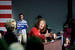 Presumable democratic presidential candidate Hillary Clinton is welcomed on stage during a May 11, 2016 campaign stop at Camden County College in Blackwood, Gloucester Township, NJ.