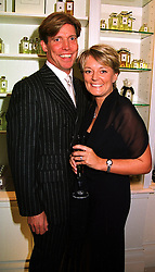 Perfumer JO MALONE and her husband GARY WILLCOX, at a party in London on 21st September 1999.MWO 18