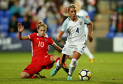Jordan Nobbs of England skips past Nadezhda Smirnova of Russia - Mandatory by-line: Matt McNulty/JMP - 19/09/2017 - FOOTBALL - Prenton Park - Birkenhead, United Kingdom - England v Russia - FIFA Women's World Cup Qualifier