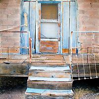 A blue broken door