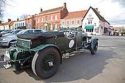 Old Bentley vintage car parked in street Dedham Essex