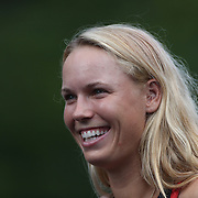 Caroline Wozniacki, Denmark, during a media session before the 1st round of the Connecticut Open at the Connecticut Tennis Center at Yale, New Haven, Connecticut, USA. 17th August 2014. Photo Tim Clayton