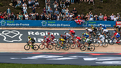 Gruppetto with Dylan GROENEWEGEN of Team LottoNL-Jumbo during the 2018 Paris-Roubaix race at Velodrome Roubaix, France, 8 April 2018, Photo by Pim Nijland / PelotonPhotos.com | All photos usage must carry mandatory copyright credit (Peloton Photos | Pim Nijland)