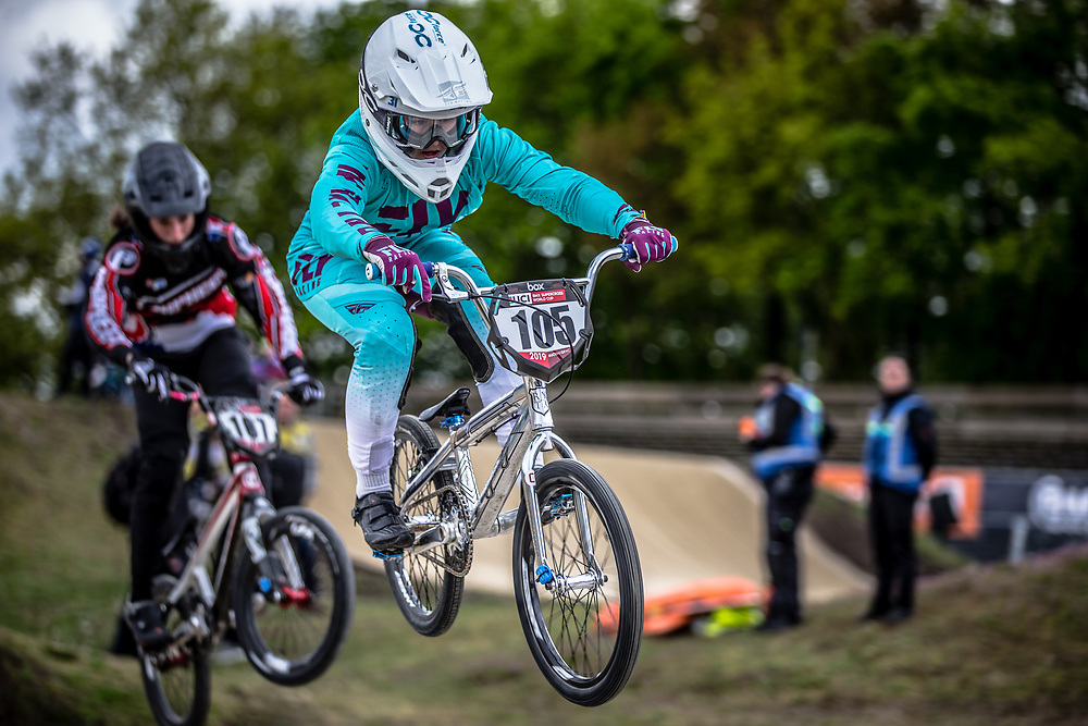 #105 (JOUTEAU Emma) FRA during practice at Round 3 of the 2019 UCI BMX Supercross World Cup in Papendal, The Netherlands