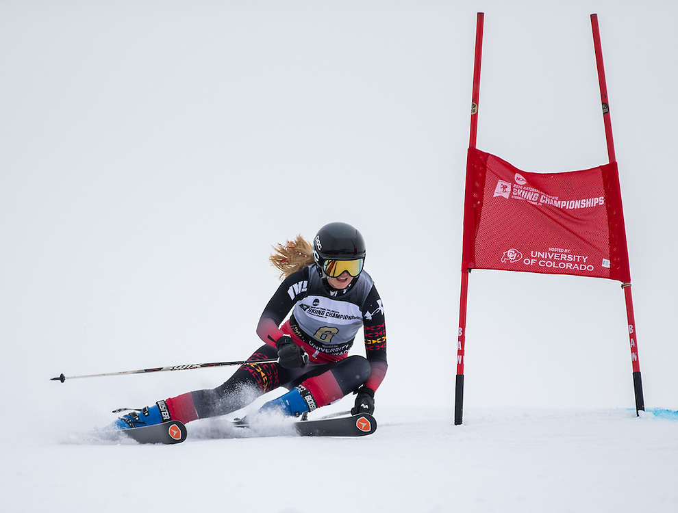 Julie Flo Mohagen of the University of Utah, during the NCAA Skiing Championships Giant Slalom on Wednesday March 9, 2016 at Steamboat, CO. (Dustin Satloff)