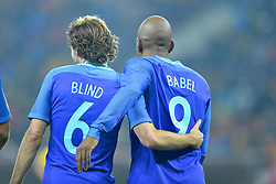 November 14, 2017 - Bucharest, Romania - Daley Blind and Ryan Babel (Ned) during the International Friendly match between Romania and Netherlands at National Arena Stadium in Bucharest, Romania, on 14 november 2017. (Credit Image: © Alex Nicodim/NurPhoto via ZUMA Press)