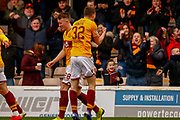 GOAL - Jake Hastie of Motherwell celebrates with the fans following the opening goal during the Ladbrokes Scottish Premiership match between Motherwell and Heart of Midlothian at Fir Park, Motherwell, Scotland on 17 February 2019.
