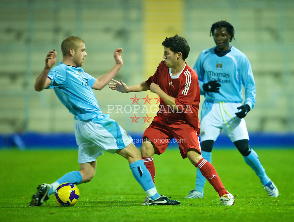 WARRINGTON, ENGLAND - Monday, November 3, 2008: Liverpool's Daniel Pacheco in action against Manchester City during the Premiership Reserve League match at the Halliwell Jones Stadium. (Photo by David Rawcliffe/Propaganda)