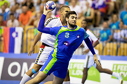 Stefan Zabic of Slovenia during handball match between National teams of Portugal and Slovenia in Semifinal of 2018 EHF U20 Men's European Championship, on July 27, 2018 in Arena Zlatorog, Celje, Slovenia. Photo by Urban Urbanc / Sportida