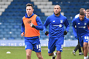 Bury on loan midfielder, John osullivan warms up with his team mates during the Sky Bet League 1 match between Bury and Walsall at Gigg Lane, Bury, England on 16 January 2016. Photo by Mark Pollitt.