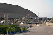 Construction waste treatment centre. The waste dumped here after collection is sorted and processed into reusable building materials. Photographed in Hiriya, Israel, the largest in the Middle East. It is operated by the local municipality, the Dan Association of Towns.